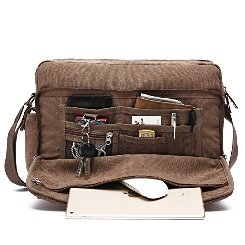 Mlife Marke Herren Canvas Messenger Bag mit Multi Taschen braun Brown - Large Medium