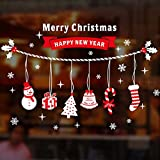 Natale Vetrofanie Adesivi Murali Rimovibile Fai da te Finestra Decorazione Vetrina Wallpaper di neve Christmas Decor Babbo Pupazzo di Neve (D)