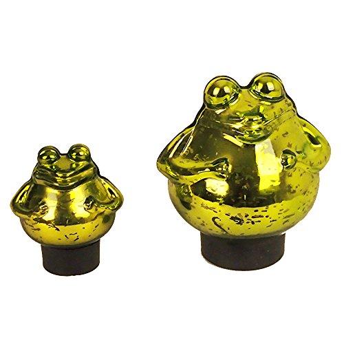 Schwimm-Frosch groß Maße 15cm x 15cm in grün/glänzend aus Glas