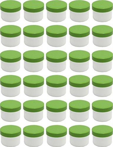 30 Salbendöschen, Creme-döschen, Salbenkruke flach, 35ml Inhalt mit grünen Deckeln - MADE IN GERMANY