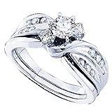 0,90Karat (ctw), 14K Weiß Gold Runde & Prinzessin Diamant Damen Ehering Verlobungsring Passende Band Set