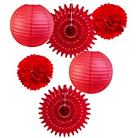 18 St/ücke Party Pack Papierlaternen und Pom Pom Balls H/ängende Dekoration f/ür Weihnachten Hochzeit Geburtstag Baby Shower-Green//Rot//Wei/ß