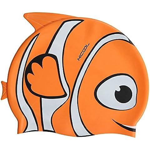 Gorro de natación, HiCool silicona impermeable de alta calidad de orejeras, gorro de natación para niños (Naranja)