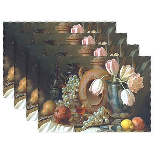 Jereee Ölgemälde Trauben Obst Set von 1 Platzdeckchen hitzebeständig Tischmatte waschbar schmutzabweisend Anti-Rutsch-Polyester Tischsets für Küche Esszimmer Dekoration, Vinyl, 1 Stück