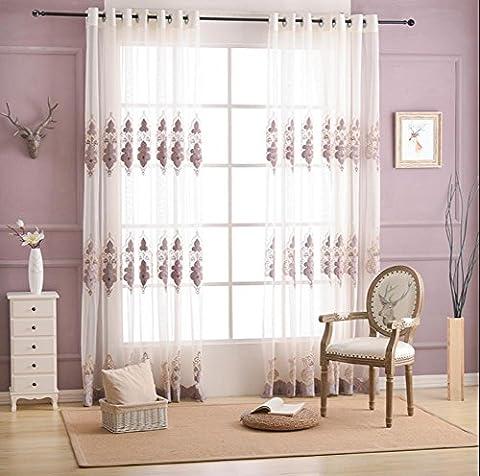 Hochwertige gestickte Hohle Lace Screens Breathable Balkon Schlafzimmer Sheer Window Vorhänge Hollow Belüftet Blau / Lila 200cmx270cm (80x108 Zoll) -1 Stück , purple , 1*?300*270cm?