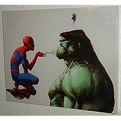 Lienzo impreso montado de Spiderman lanzando la red sobre el increíble Hulk