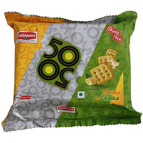 Britannia 50-50 Biscuits - Maska Chaska, 120g Pack