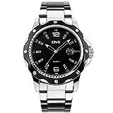 CIVO Herren Schwarz Uhren Groß Militär Sport Uhr 30M Wasserdicht Classic Kalender Datum Luxus Business Analog Armbanduhr Edelstahl Uhrband