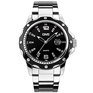 CIVO Mens Big Face Sports Luxury Waterproof Stainless Steel Band Date Calendar Military Analogue Quartz Watches Men Casual Business Classic Simple Design Fashion Dress Wrist Watch Black Dial