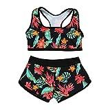 TOPKEAL Damen 2 Piece Tankini Set Strap Print Badeanzug Tank Top Bikini Swimsuits mit Short(Medium,Grün)