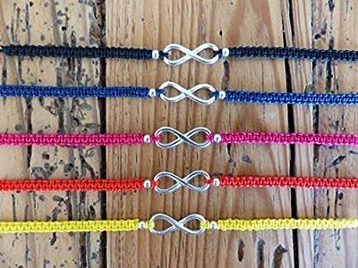 Bracelet macramé infini argent massif - 5 couleurs au choix - Bracelet cordon argent 925 - Bracelet plage - Bracelet coloré - Infini argent