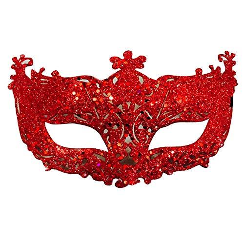 Lanking Tanzshow Maske, Kinder Damen Gesicht hohl Kleine Fox Fairy Gold Chip (Rot)