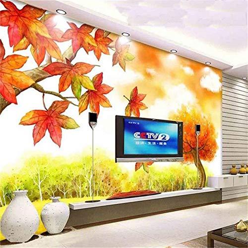 tzerdefinierte 3D Fototapete Wohnzimmer Fototapete Sofa Tv Hintergrund Wand Blatt Herbst Landschaft 3D Malerei Tapete Für Wände 3D-300Cmx210Cm ()