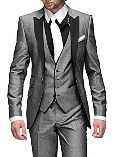 GEORGE BRIDE Herren Anzug 5-Teilig Anzug Sakko,Weste,Anzug Hose,Krawatte,Tasche Platz 002,Dunkelgrau grau XXXXXL (Siehe Größentabelle)