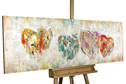 KunstLoft® Acryl Gemälde 'Color My Heart' 150x50cm | original handgemalte Leinwand Bilder XXL | Bunte Herzen Beige Gold | Wandbild Acrylbild Moderne Kunst einteilig mit Rahmen (Rahmen-kunst)