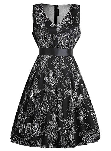Creti Elegant Damen Vintage 50er Kleider Floral Flare A-Line Baumwolle Cocktailkleider mit Gürtel (Floral Silber Gürtel)