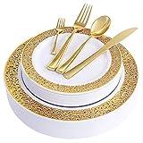 Piatti di plastica usa e getta, piastre di plastica oro con argenteria in plastica usa e getta, piaghe da tavola in plastica in pizzo Design Design Party per tutte le vacanze,150pcs