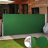 Jago Seitenmarkise Sonnenschutz Sichtschutz Windschutz (Farbwahl/Größenwahl) Seitenrollo Markise Balkon Terrasse (Grün/ 160x300 cm)