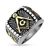 Autiga Freimaurer Ring Herren Edelstahl Tempelritter Ring Masonic Siegelring Symbol G Winkel und Zirkel Silber 67 - Ø 21,39 mm