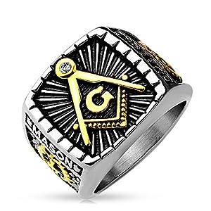 Autiga Freimaurer Ring Herren Edelstahl Tempelritter Ring Masonic Siegelring Symbol G Winkel und Zirkel