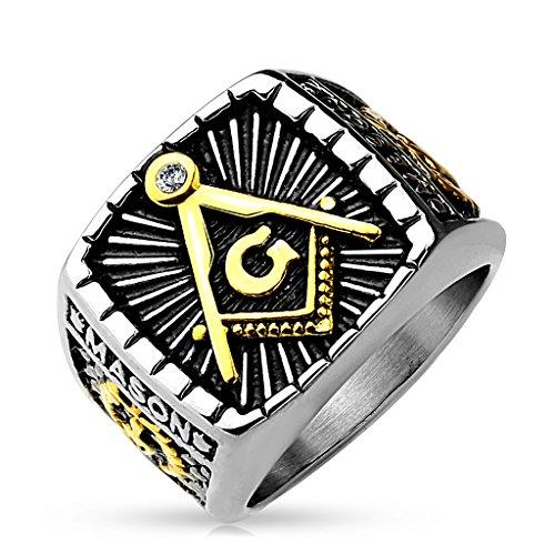 ng Herren Edelstahl Tempelritter Ring Masonic Siegelring Symbol G Winkel und Zirkel Silber 70 - Ø 22,20 mm ()