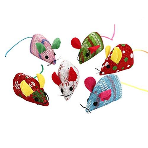 UKCOCO 6 Pezzi Mini Topo Giocattolo, Topi Peluche Giocattoli Interattivo per Gatto, Giocattoli di Topi Gatto Nip, Gioco per Gattino, Topini Giocattolo per Gatto (Colore Casuale)
