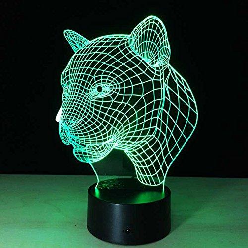 Goney 3D Nachtlicht Leopard Kopf Sensor Licht LED Neuheit Kreative Geschenk Tischlampe (Farbe : Colorful: Remote Control Touch) (Control-bild-licht Remote)