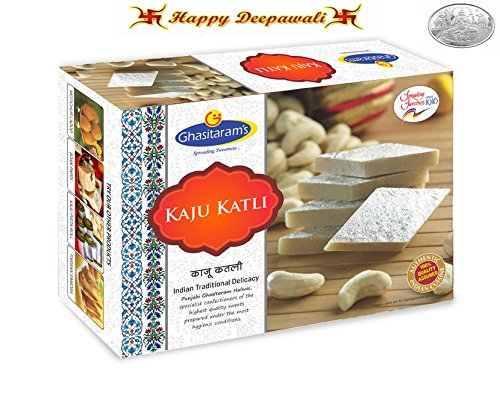 Punjabi Ghasitaram Halwai Diwali Special Kaju Katli Gift Box with Free Silver Plated Coin. (100gms)  available at amazon for Rs.130
