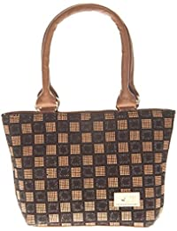 Aliado Faux Leather Printed Beige & Black Zipper Closure Tote Bag For Women For Women