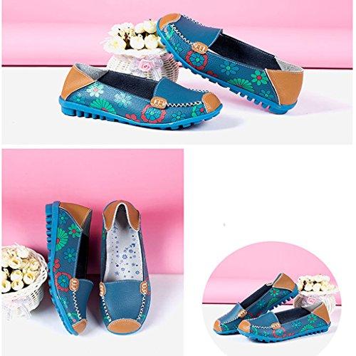 Oriskey Damen Mokassin Bootsschuhe Leder Loafers Schuhe Flache Fahren Halbschuhe Slippers Blau