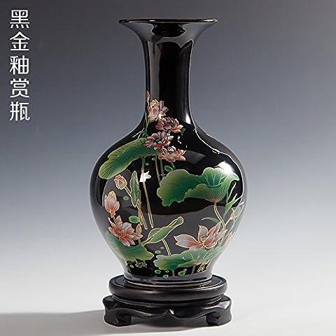 Vase En Céramique Décoration Décorative Arrangement Floral Or Noir Glaze