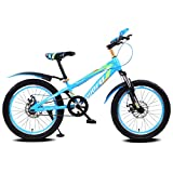 Fenfen Kinder Fahrrad 16/18/20 Zoll Mountain Bike 5-8/7-10/10-14 Jahre altes Kind Kinderwagen High-Carbon-Stahl Fahrrad, blau schwarz/rot schwarz/grün schwarz/blau (Color : 18 inch blue)