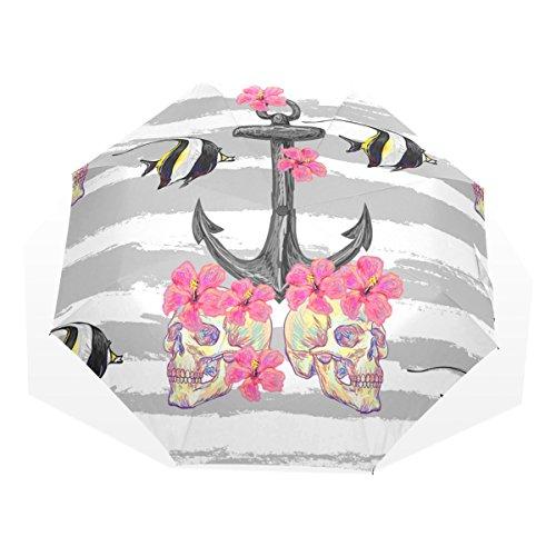 GUKENQ - Paraguas de Viaje con diseño de Calavera, diseño de Estrella de mar con Forma de pez, Ligero, antirayos UV, para Hombres, Mujeres, niños, Resistente al Viento, Plegable, Paraguas Compacto