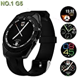Champkia Samsung W2018 Compatible Bluetooth Smartwatch / Wrist Watch (G5 Black) With Sim Card Support For High Quality Calling | Facebook And WhatsApp | Touch Screen | Multilanguage | Activity Trackers | Fitness Band Features | Video Recording | Phone Boo