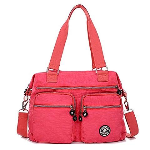 Petit Chou léger résistant à l'eau en nylon sac à bandoulière Totes Sac à bandoulière avec poches Taille L - Rose - rose,
