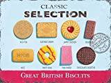 Great British Biscuits Classics Selection - Food, Rich Tea, Custard Cream, Jammy Dodger, Bourbon, Nice, Party Ring, Pink Wafer & Chocolate Digestive. Old Retro Vintage Advert for Shop, Kitchen, Cafe, Pub, Home and Restaurant. Large Metal/Steel Wall Sign