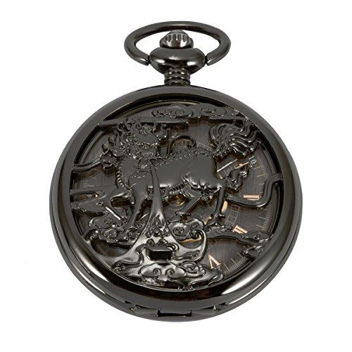 ManChDa montre de poche chinois Licorne Qilin Modèle chasseur Noir Boîtier creux Cru Automatique Mécanique Chaîne + Boîte-cadeau