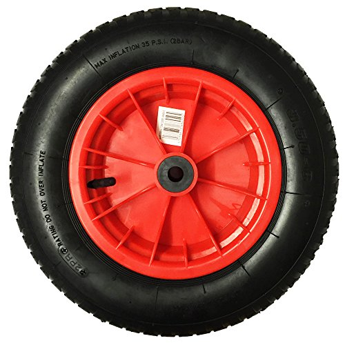 "14"" RED SACK TRUCK TROLLEY RUBBER REPLACEMENT WHEEL BARROW TYRE STEEL Test"