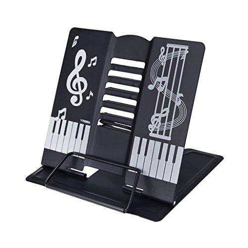 LY - Atril para libros, metal, ajustable, 6 posiciones, color negro