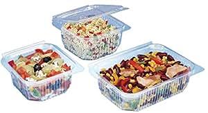 Cuisineonly - Boite à couvercle rentrant à charnière pour utilisation froide - sache long 125mm; larg 113mm; haut 42mm, 250cc, 50.. Cuisine : Usage unique (barquettes plastique - barquettes micro-ondes)