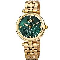 Burgi Stainless Steel Designer Women's Watch – 4 Genuine Diamond Markers on Green Flower Embossed Sunray Dial, Fashion Bracelet Band - BUR223GN