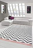 Teppich modern Skandinavisches Design in Rosa Creme Grau Größe 200 x 290 cm