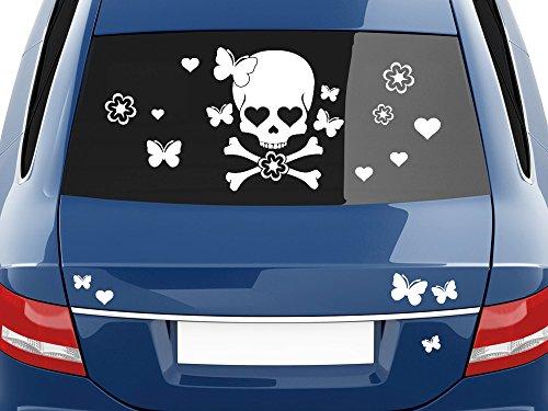 GRAZDesign 740423_57_093G Autoaufkleber Sticker Aufkleber Set für Auto Totenkopf Blumen Herzen Falter (100x57cm//093 anthrazit)