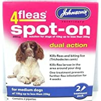 Johnson's 4 Fleas Spot On Dog Dual Action Kills Fleas Flea Larvae Biting Lice (Medium Dogs 10kg - 25kg)