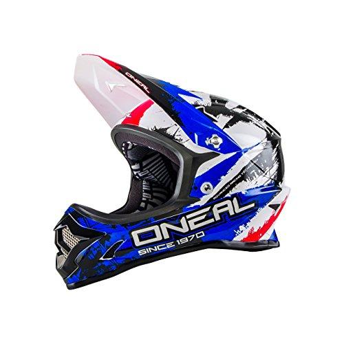 O 'Neal Backflip Fidlock DH Fahrrad Helm RL2Shocker ,Unisex ,Mehrfarbig(Schwarz / Rot / Blau), S (55 - 56 cm)
