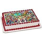 Decoración comestible para tarta con diseño de cómic de superhéroes