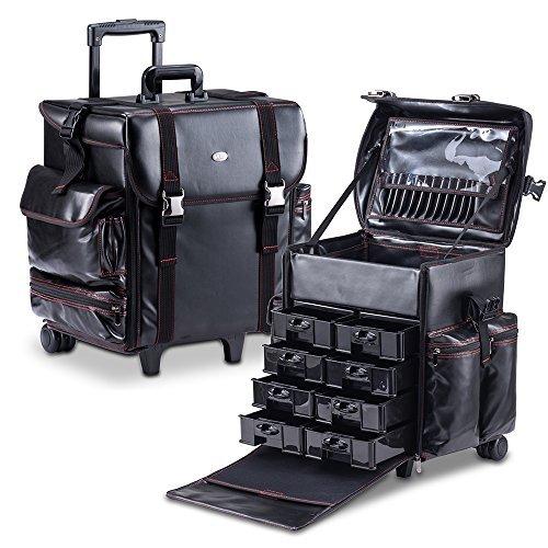 MUA LIMITED Professioneller Schmink Koffer, Make-up Visagisten Trolley, Weichschalen Koffer, ULTIMATE Serie, Schwarz Leder