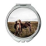 Yanteng Spiegel, Travel Mirror, Tier Tiere Kavallerie, Taschenspiegel, tragbarer Spiegel