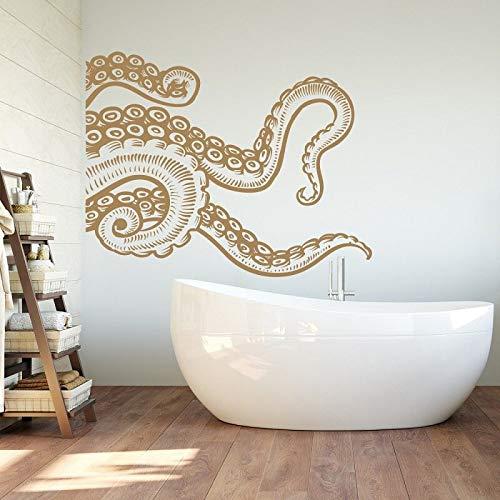 haninj Meerestier Riesen Tintenfisch Tentakeln Vinyl Wand Applique Marine-Stil Badezimmer Home Dekoration bewegliche Kunst Tapete 53x42cm (Riesen-wand-abziehbilder Für Wohnzimmer)