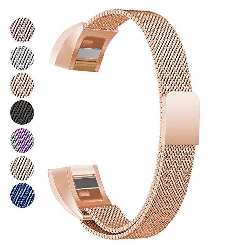 Fitbit Alta HR und Alta Armband, BeneStellar Milanese Edelstahl Uhrenarmband Mailänder Magnetschleife Edelstahlband Ersatz Armband Für Fitbit Alta HR und Alta (01#Rosegold)